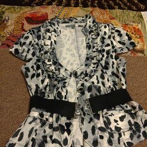 Ashley Belted Black/White Leopard Jacket L